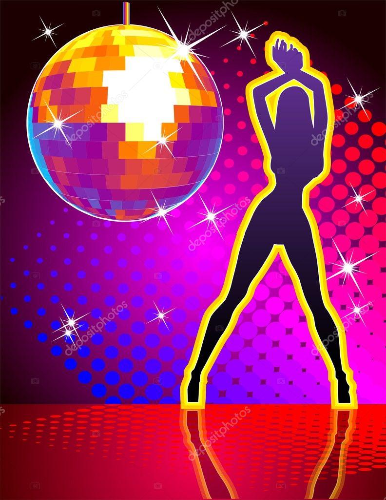 Bola de discoteca vector sobre fondo abstracto vector de - Bola de discoteca de colores ...
