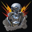 Royalty-Free Stock Vector Image: Vector metall skull with engine