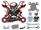 Vector bikers simbols set — Stockvector