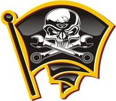 Vector moto-Jolly Roger badge — Stockvector