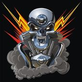 Vector metall skull with engine — 图库矢量图片
