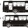 Vector city bus silhouettes — Stock Vector