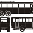 Vector retro bus set - Stock Vector