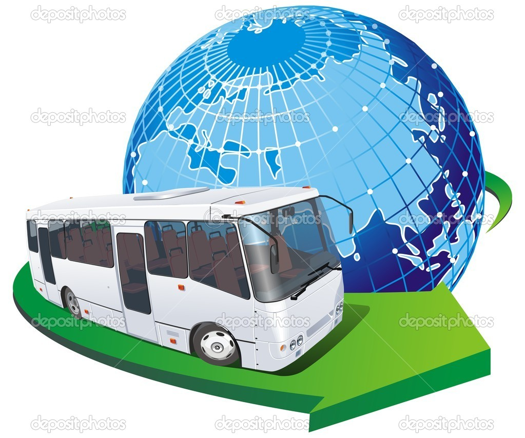 Vector tourist bus with globus.  (with transparency options)  Stock Vector #1812299