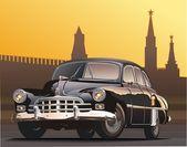 Vector illustration retro limousine — Stock Vector