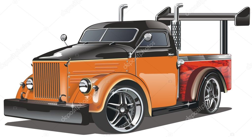 Vector illustration GAZ-51 Hot Rod (chopped old-fashioned soviet lorry GAZ-51) isolated on white background — Stock Vector #1828279