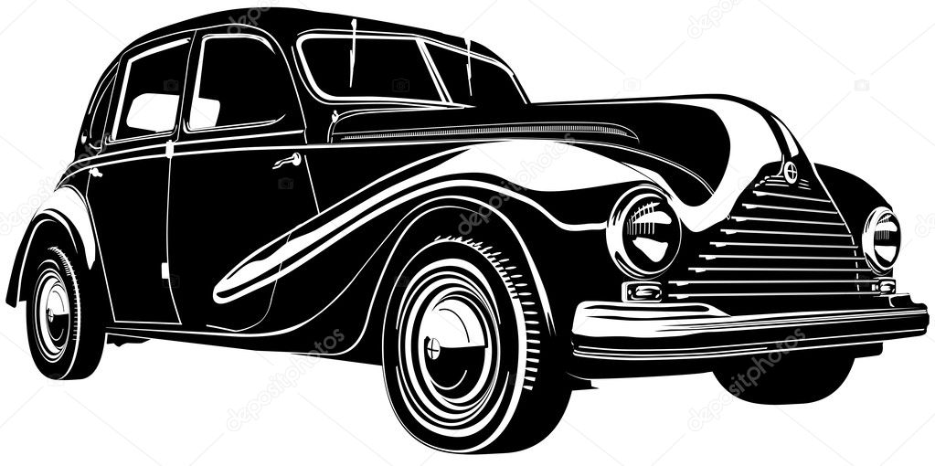 Vector illustration vintage retro automobile Isolated on white background. — Stock Vector #1828314