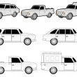 Royalty-Free Stock Vector Image: Various delivery car modifications