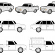 Stock Vector: Various delivery car modifications