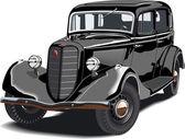 Vector Black vintage car — Stock Vector
