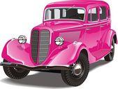 Coche retro rosa — Vector de stock