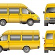 Stock Vector: Yellow mini bus
