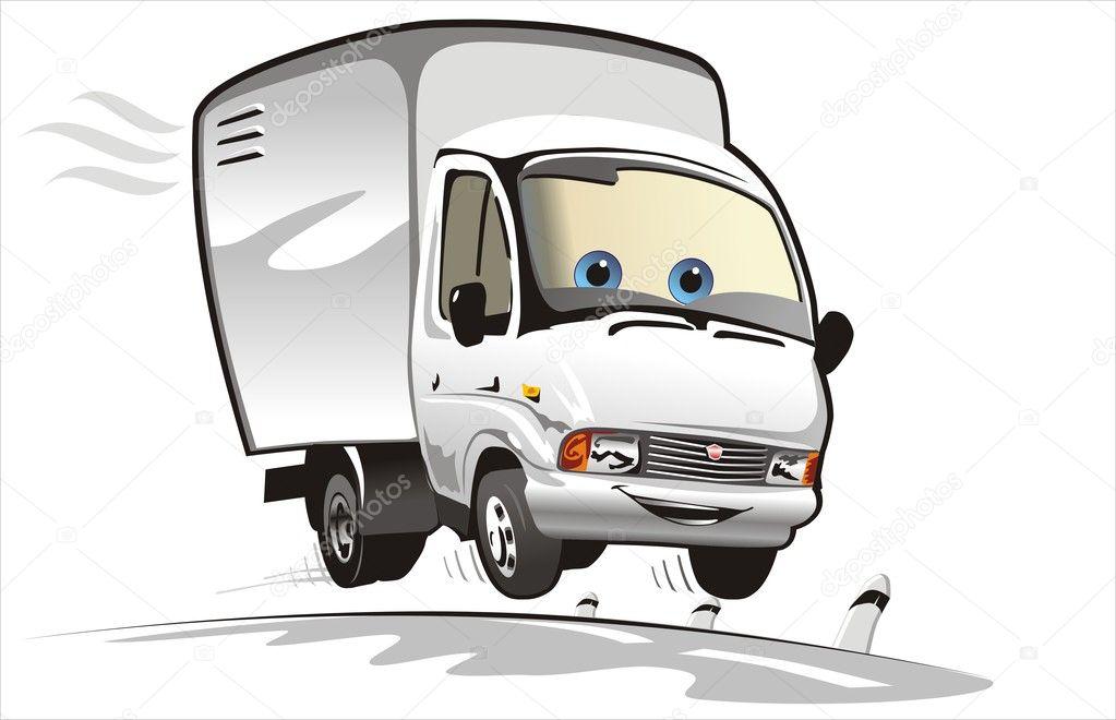 Vector cartoon delivery / cargo truck — Stock Vector ...