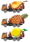 Vector fruit-truck set — Stock Vector