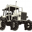 Stock Vector: Detailed tractor silhouette
