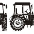 Detailed tractor silhouette — Stock Vector