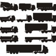 Vector truck silhouettes set - Stock Vector