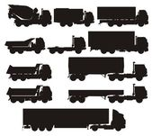 Vector truck silhouettes set — Stock Vector