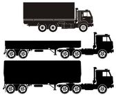 Truck silhouettes set — Stock Vector