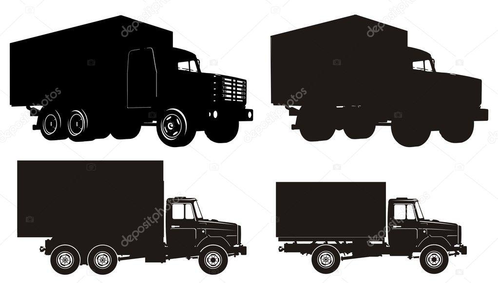 Semi Truck Silhouette Trucks Silhouette Set