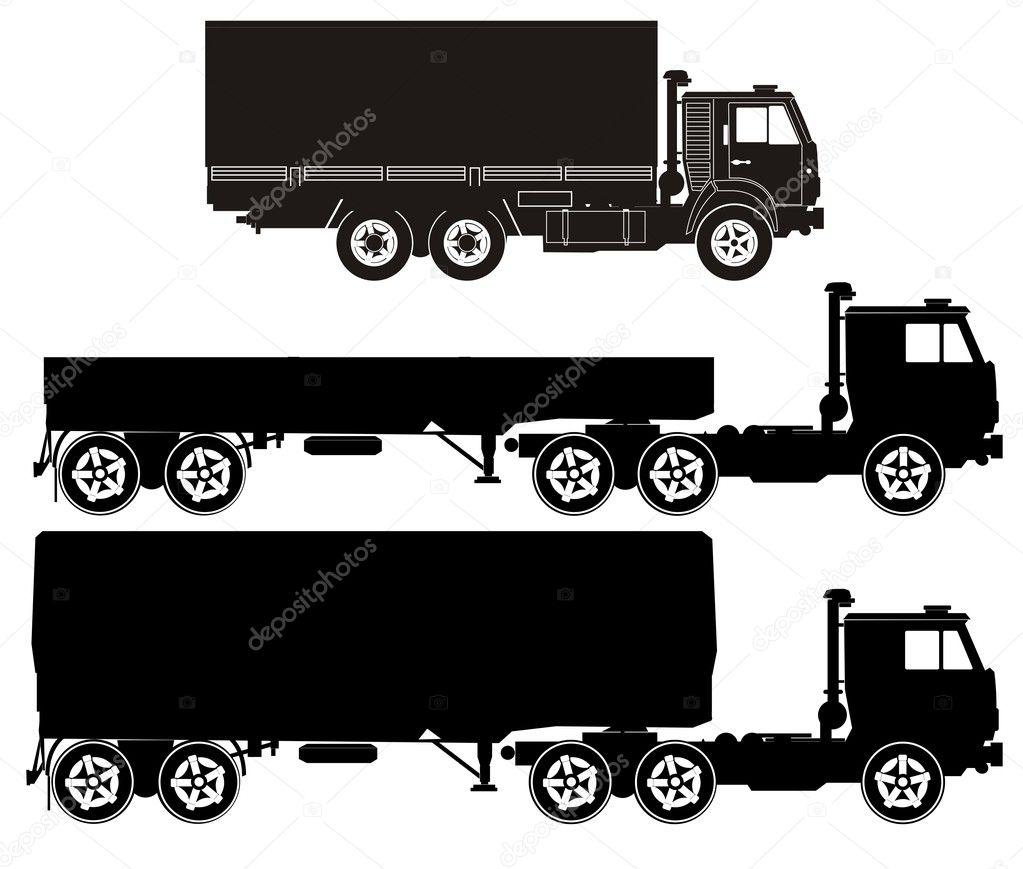 Semi Truck Silhouette Truck Silhouettes Set Vector
