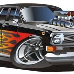 Vector retro cartoon hotrod — Stock Vector #2406370