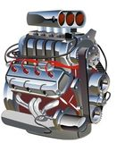Vector cartoon turbo motor — Stockvector
