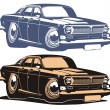 Vector cartoon retro car — Stock Vector #2419267
