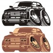 图库矢量图片: Vector cartoon retro car