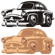 Stock Vector: Vector cartoon retro car