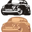 Vector cartoon retro car — Vector de stock