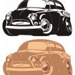 coche retro Vector de dibujos animados — Vector de stock