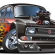 Vector retro cartoon hotrod — Stok Vektör