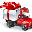Vector Christmas delivery / cargo truck — Stockvectorbeeld