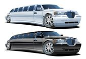 Vector de dibujos animados limousines — Vector de stock