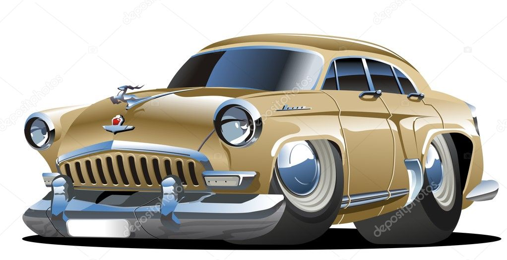 Vector illustration cartoon retro car isolated on white background. — ベクター素材ストック #2457845