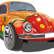 Vector retro cartoon car - Stock Vector