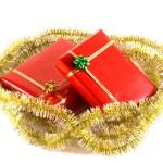prezenty czerwony na białym tle — Zdjęcie stockowe