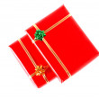 Red gifts on white background — Stock Photo