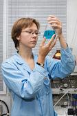 Scientist,flask — Stock Photo