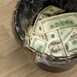 Bucket, dollars, one — Stock Photo