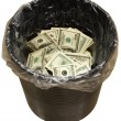 Bucket, dollars, three — Stock Photo