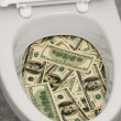 Stock Photo: Toilet, dollars, one