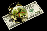 Alarm clock and money 02 — Stock Photo
