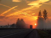Morning,highway,fog — Stock Photo