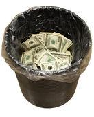 Bucket, dollars, three — Stock Photo