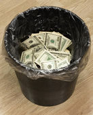 Bucket, dollars, two — Stock Photo