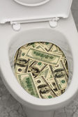Toilet, dollars, one — Stock Photo