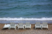 Empty beach chairs — Stock Photo