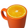 Orange mug and orange — Stock Photo
